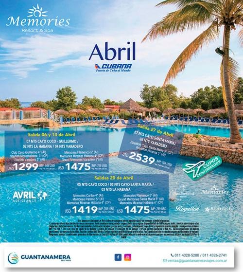 Cuba con Memories - Abril 2020
