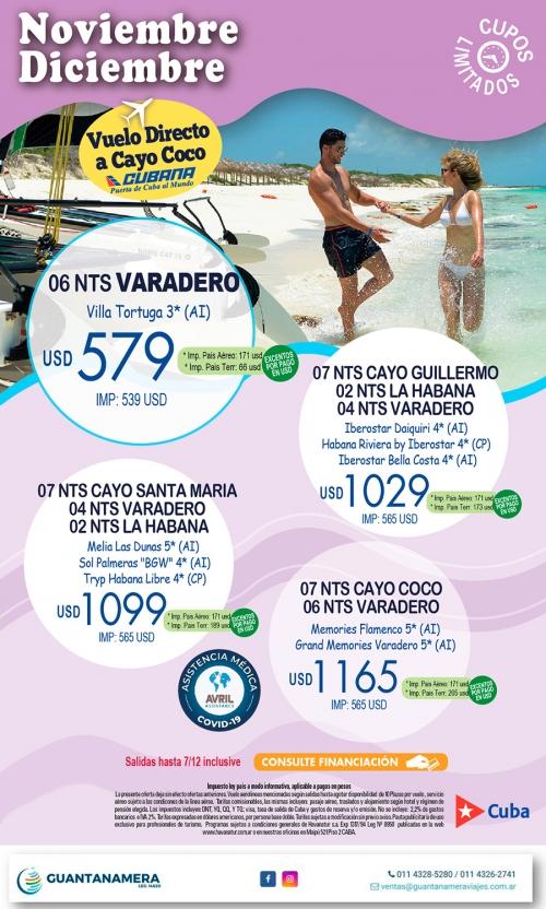 CUBA- Salidas en Noviembre y 07 de Diciembre de 2020